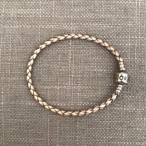 Pandora Champagne Braided Leather Charm Bracelet